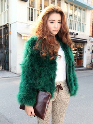 Real Ostrich Turkey Feathers Fur Coat