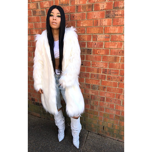 "White Long Hair Faux Fur Coat ""SOLDOUT"""