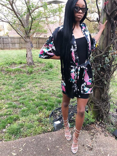 """Black Floral Print Kimono """"One Size Fits Most"""""""