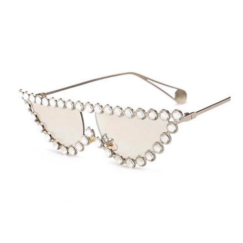 Luxury Crystal Rhinestone Cat Eye Sunglasses Half Frame Clear