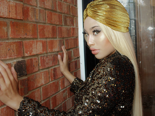 Gold Metallic Turban