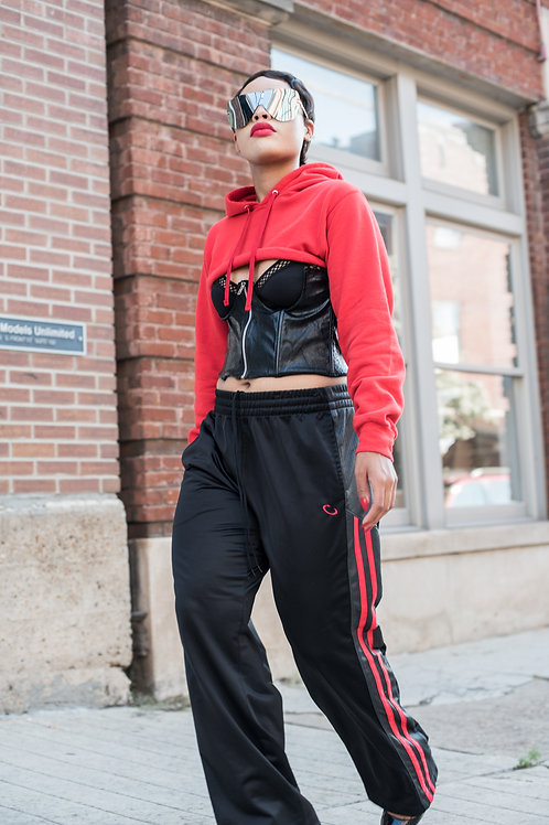 Black and red strip joggers