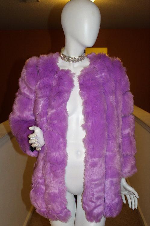 """Purple Faux Fox Fur Coat """"SOLDOUT"""""""