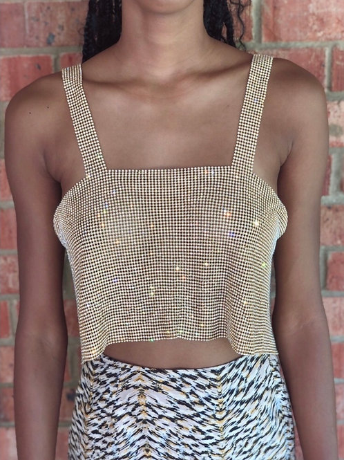 Disco Nights Rhinestone Crop Top