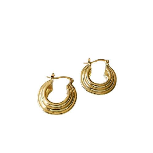 Chunky Thread Hoops - Gold