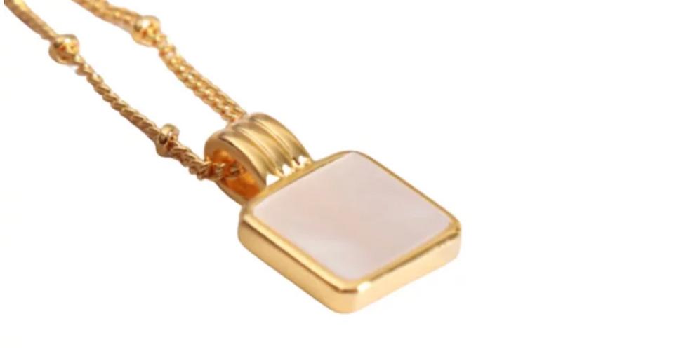 White Malachite Square Necklace - Gold