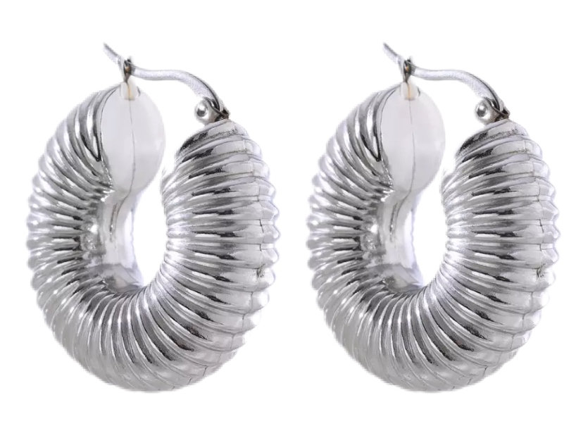 Chunky Fossil Hoops - Silver
