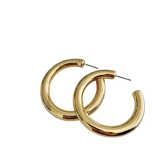 Small Staple Chunky Hoops - Gold
