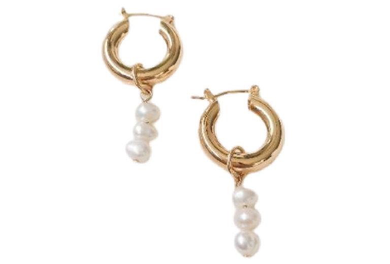Triple Pearl Drop Hoops - Gold