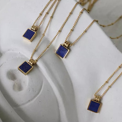 Navy Stone Square Necklace