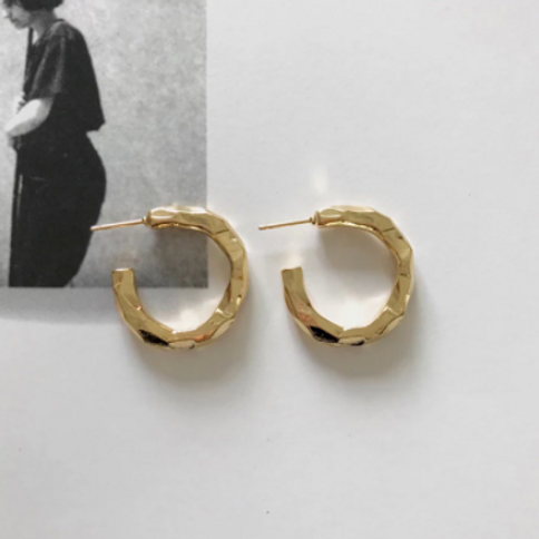 Hammered Metal Hoops - Gold