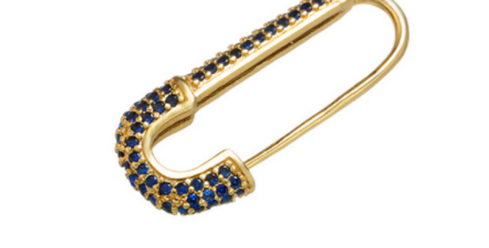Safety Pin Single Earring - Navy