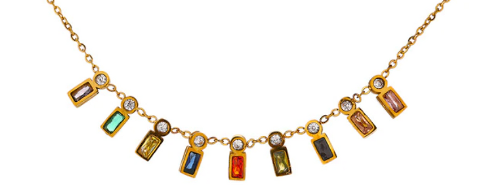 Delicate Gold Stone Necklace