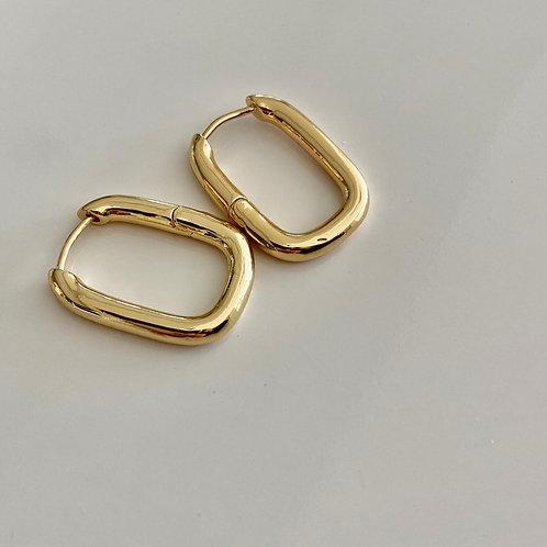 Geometric Huggie Hoops - Gold