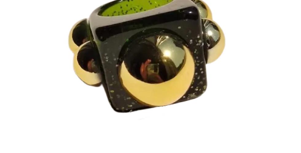 Handmade Resin Ring - Dark Green