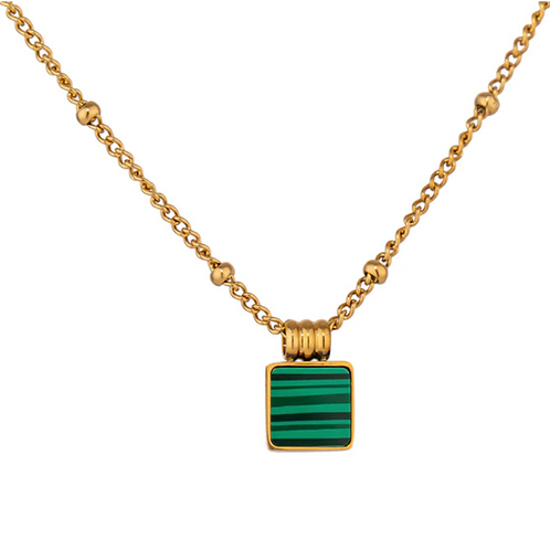 Green Malachite Square Necklace