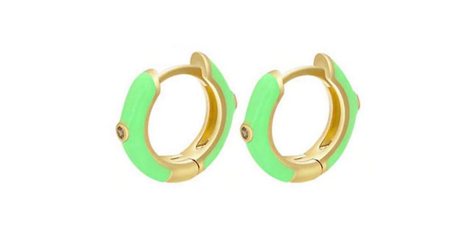Coloured Huggie Hoops - Gold