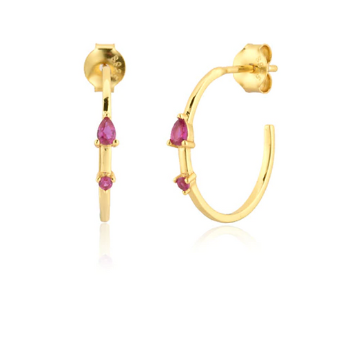 Delicate Stone Hoops - Rose