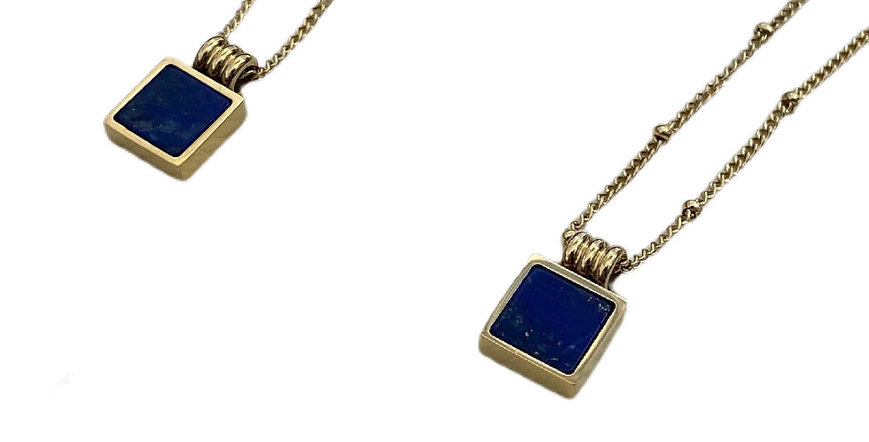 Navy Stone Square Necklace - Gold