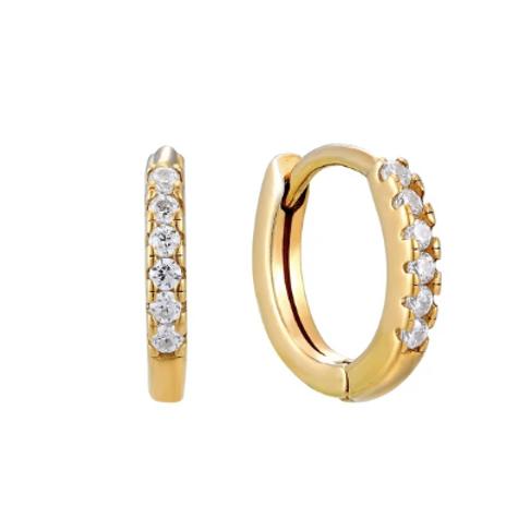 Slim Diamond Huggie Hoops - Gold
