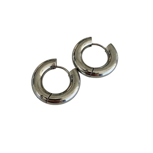 Chunky Circle Hoops - Silver