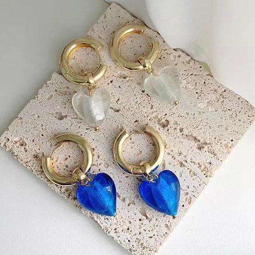 Glass Heart Shape Earrings