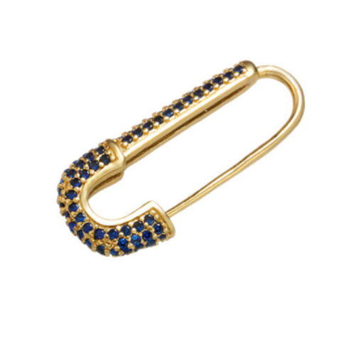 Safety Pin Single Earring - Blue