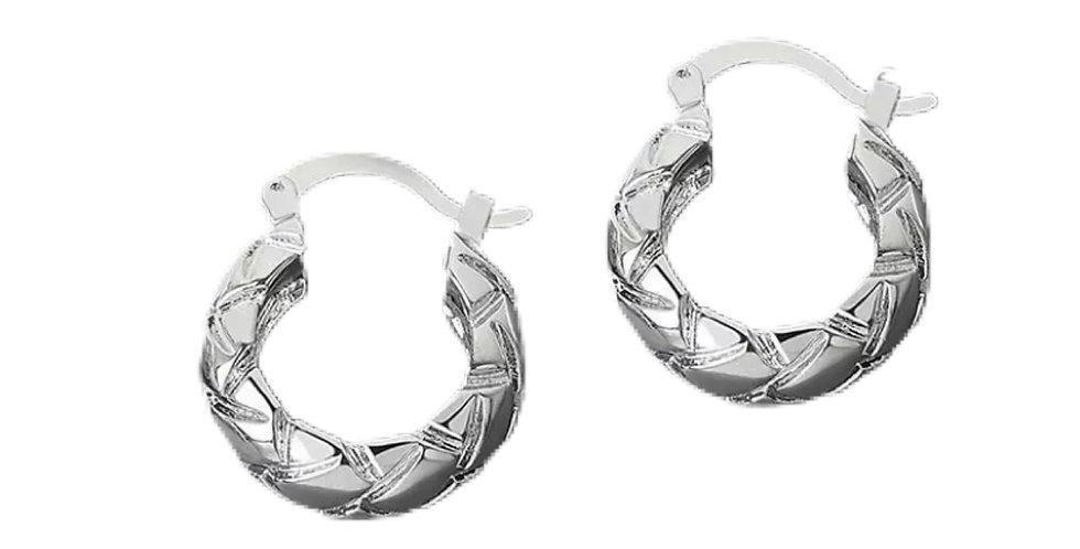 Chunky Rhombus Hoops - Silver
