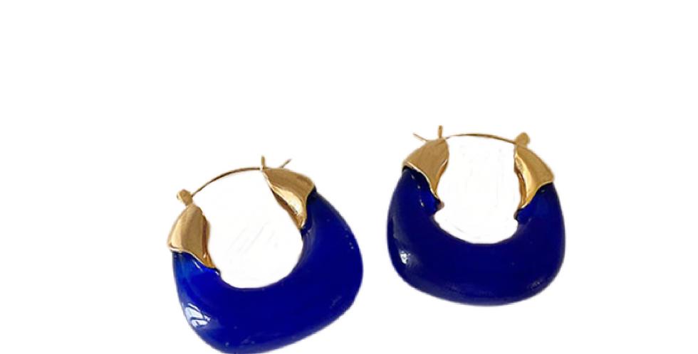 Irregular Resin Earrings - Blue