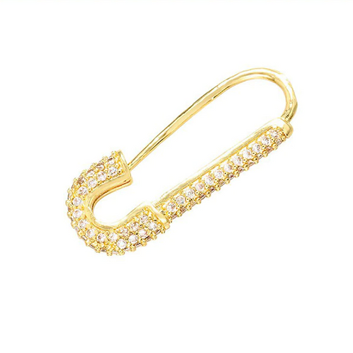 Safety Pin Single Earring - White