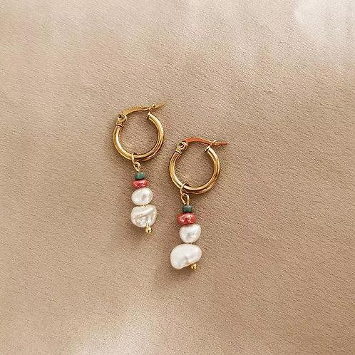 Pearl and Bead Drop Hoops