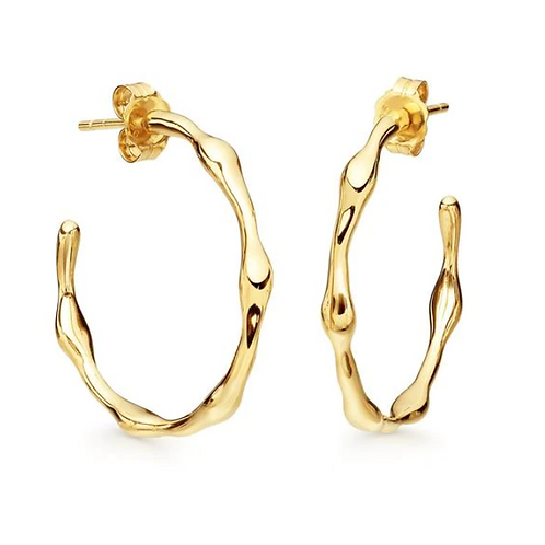 Gold Bamboo Small Hoops