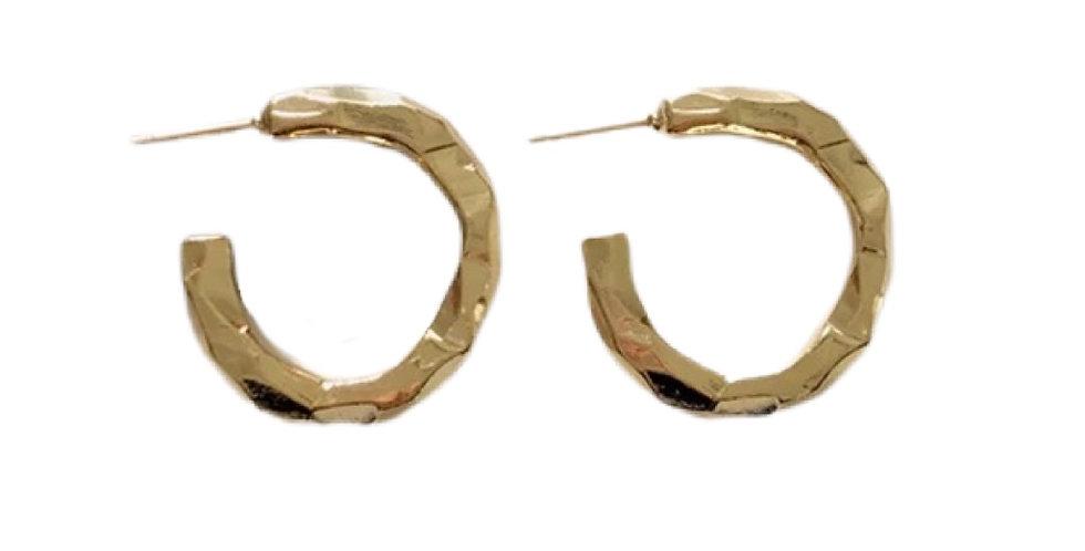 Hammered Metal Hoops - Gold