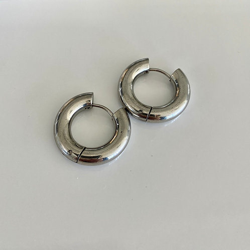 Chunky Circle Hoops - Silver