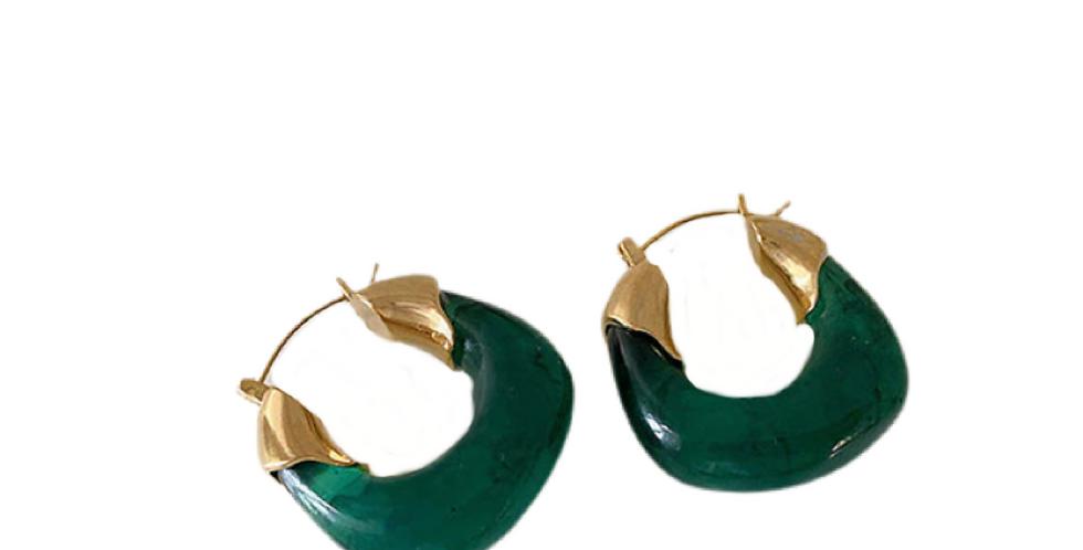 Irregular Resin Earrings - Green