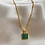 Thumbnail: Green Malachite Square Necklace