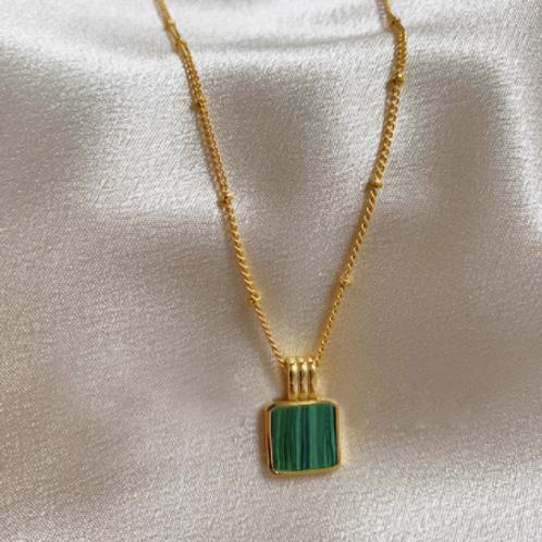 Green Malachite Square Necklace