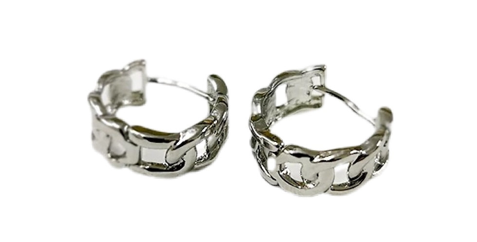Chain Link Hoops - Silver