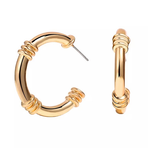 Wrapped Chain Gold Hoops