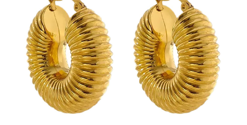 Chunky Fossil Hoops - Gold