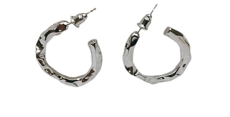 Hammered Metal Hoops - Silver