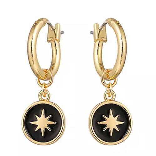 Black Star Huggie Hoops