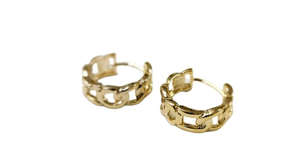 Chain Link Hoops - Gold