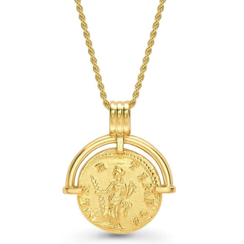 Roman Coin Pendant Necklace - Gold