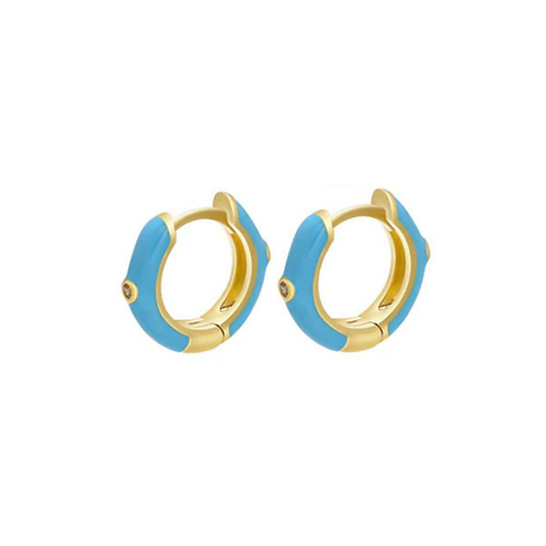 Blue Huggie Hoops