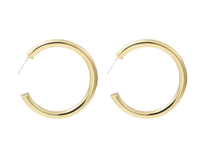 Medium Staple Hoops - Gold