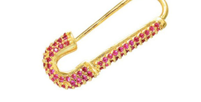 Safety Pin Single Earring - Pink