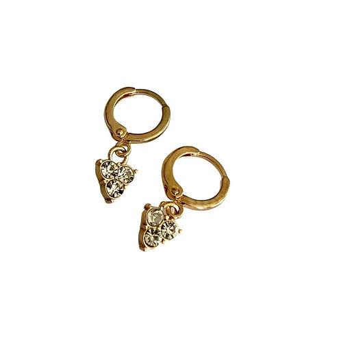Diamond Arrow Huggie Hoops - Gold