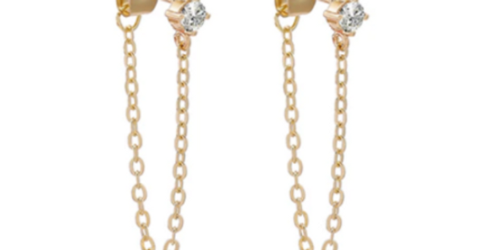 Chain Earrings with Stone