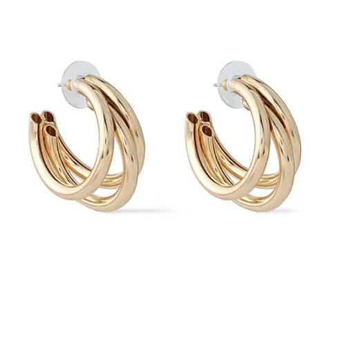 Triple Hoop Earrings - Gold